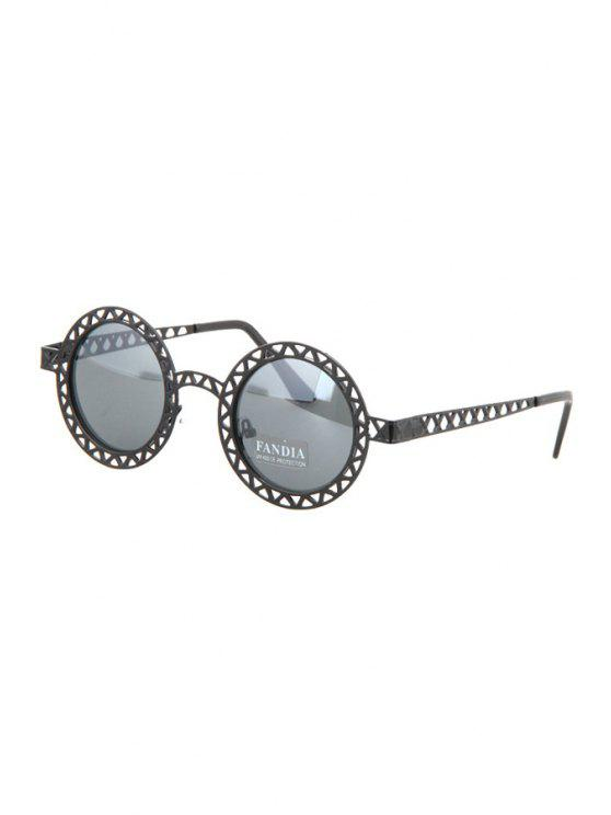 shop Hollow Out Zig Zag Round Sunglasses - BLACK