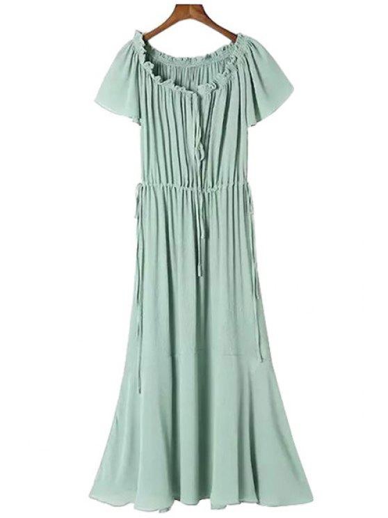 womens Solid Color Ruffle Tie-Up Maxi Dress - GREEN S