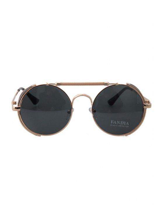 chic Chain Alloy Round Frame Sunglasses - GOLDEN