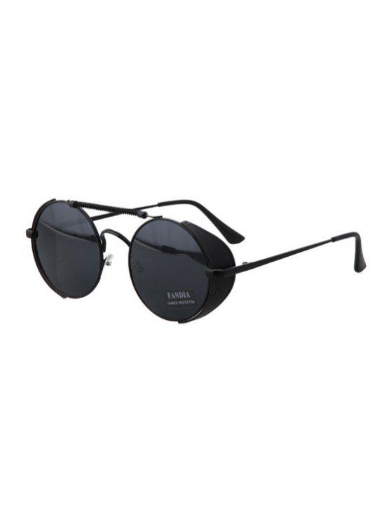 online Chain Alloy Round Frame Sunglasses - BLACK