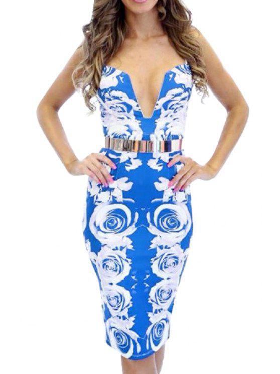 affordable Rose Print Spaghetti Straps Bodycon Dress - BLUE S