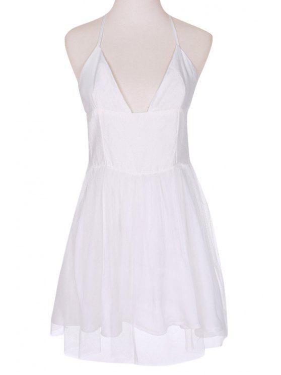 sale Voile Spliced A-Line Spaghetti Straps Dress - WHITE S