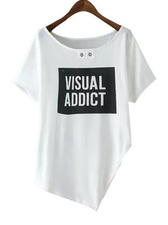 fashion Scoop Neck Letter Print Asymmetrical T-Shirt - WHITE S