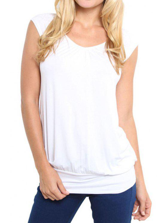 shop Short Sleeves Solid Color T-Shirt - WHITE S