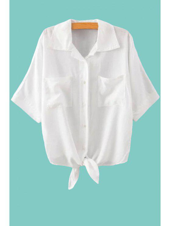 shop Solid Color Tie-Up Pocket Half Sleeve Shirt - WHITE M