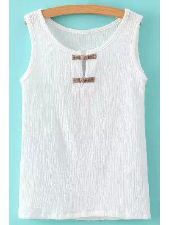 online Buttons Ruffle Sleeveless Tank Top - WHITE M