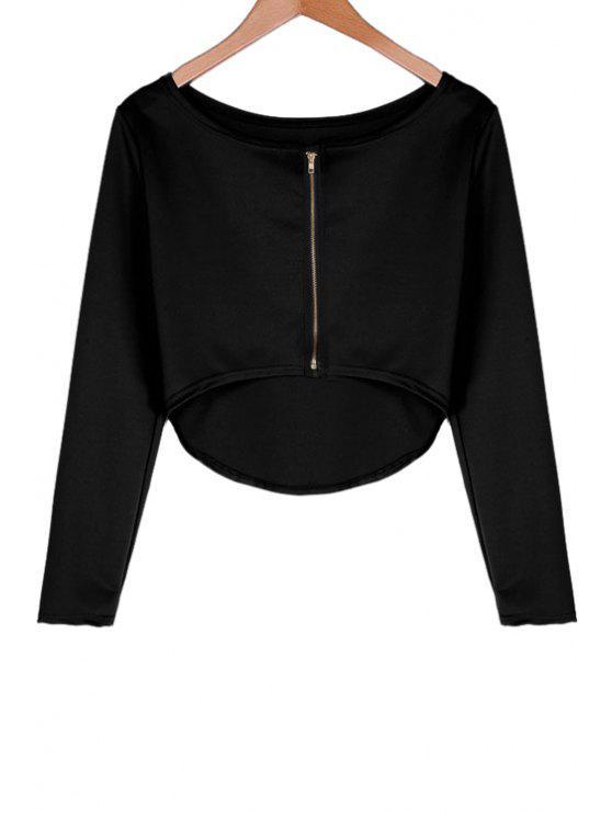 online Long Sleeves Solid Color Crop Top - BLACK S