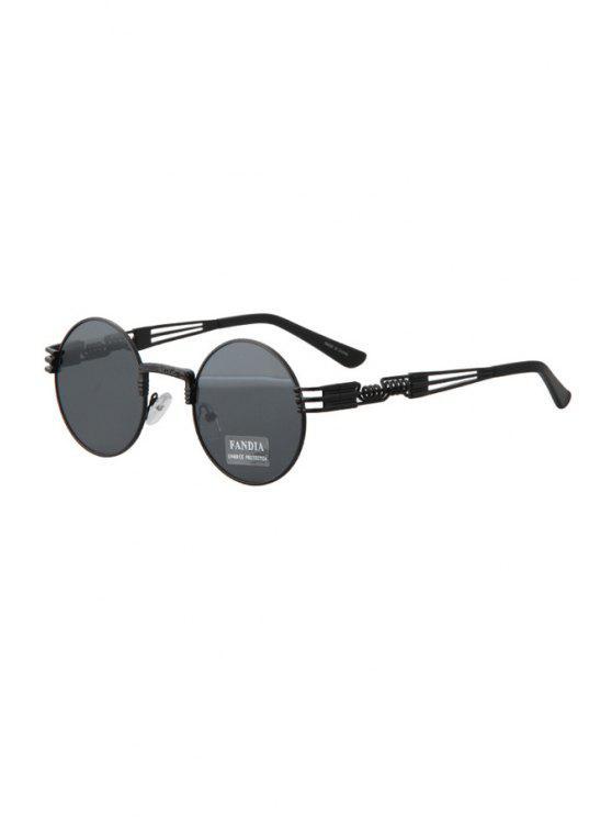 unique Alloy Round Black Frame Sunglasses - BLACK