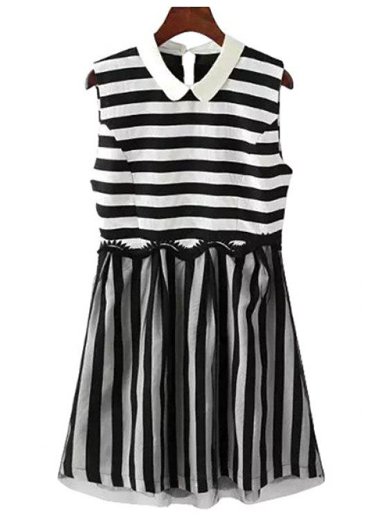 sale Black White Stripe Voile Splicing Dress - WHITE AND BLACK S