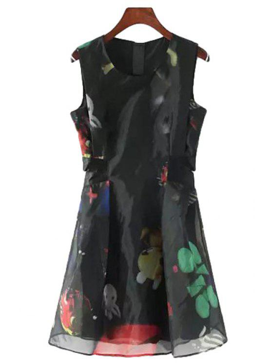 ladies Color Block Print Openwork Sleeveless Dress - AS THE PICTURE S