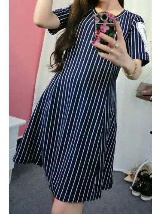 shops Stripe Letter Print Back Splicing Dress - BLUE AND WHITE L