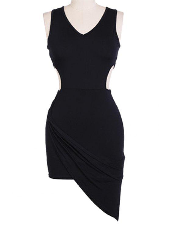 new V-Neck Solid Color Sleeveless Bodycon Dress - BLACK M