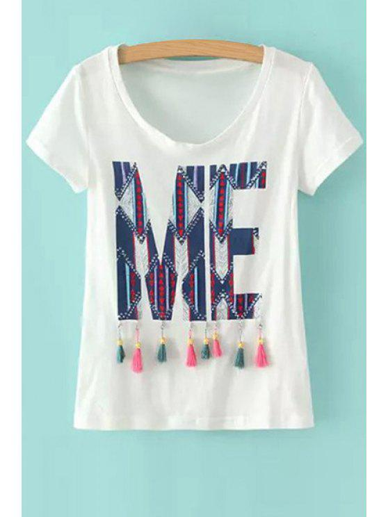 unique Geometric Pattern Tassel Splicing Short Sleeve T-Shirt - AS THE PICTURE S