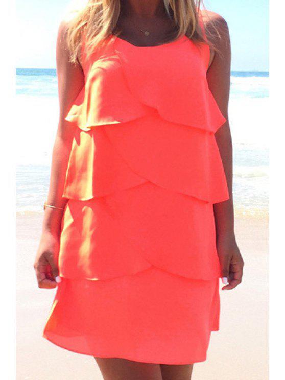 ladies Ruffles Spliced Sleeveless Layered Dress - JACINTH S