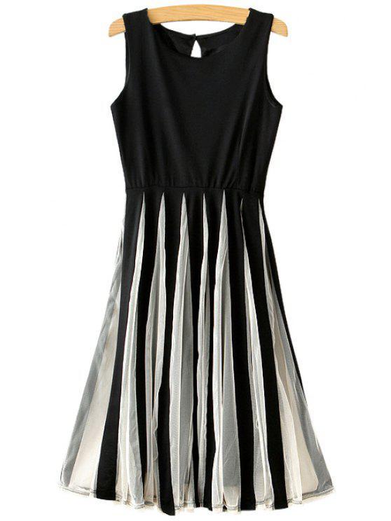 fashion Color Block Voile Splicing Ruffle Sleeveless Dress - BLACK S