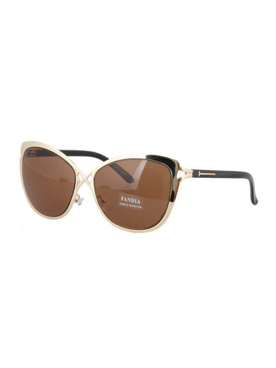 shops Hollow Out Golden Cross Sunglasses - TEA-COLORED