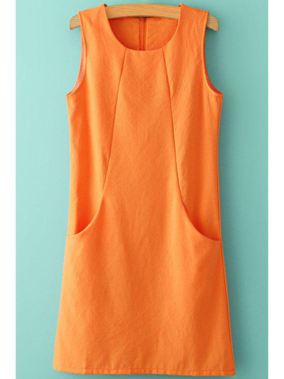 women Solid Color Pocket Splicing Sleeveless Dress - ORANGE S