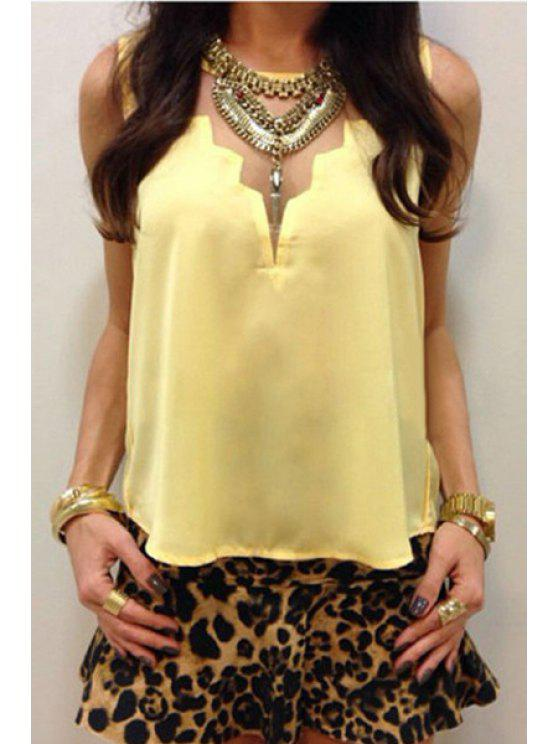 fashion Voile Spliced Solid Color Chiffon Tank Top - YELLOW S