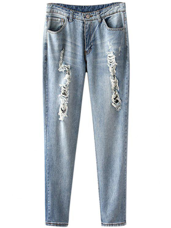 fashion Destroy Bleach Wash Zipper Fly Jeans - BLUE S