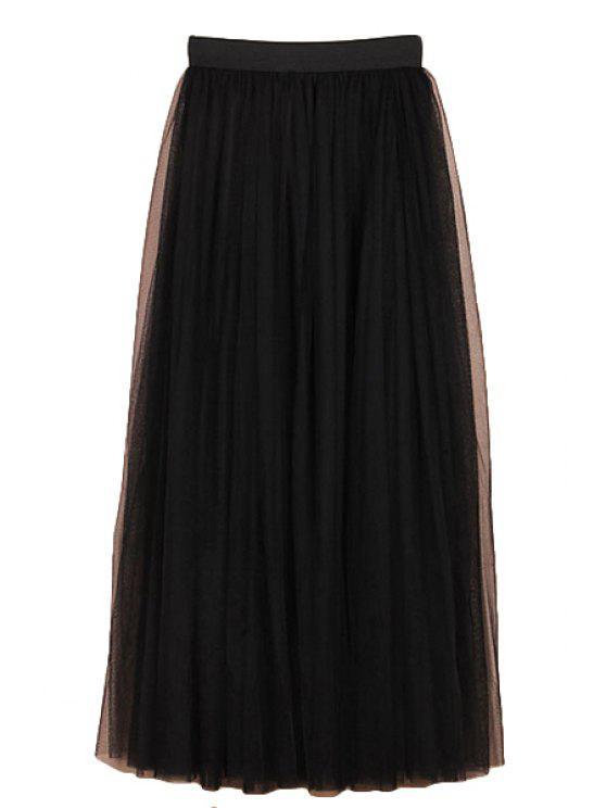 womens Solid Color Voile Elastic Waist Long Skirt - BLACK M