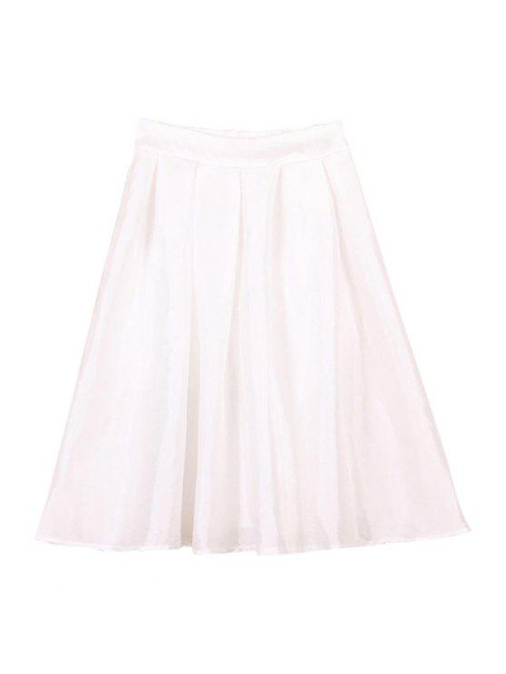 online Ruffle Solid Color Side Zipper Fly Skirt - WHITE M