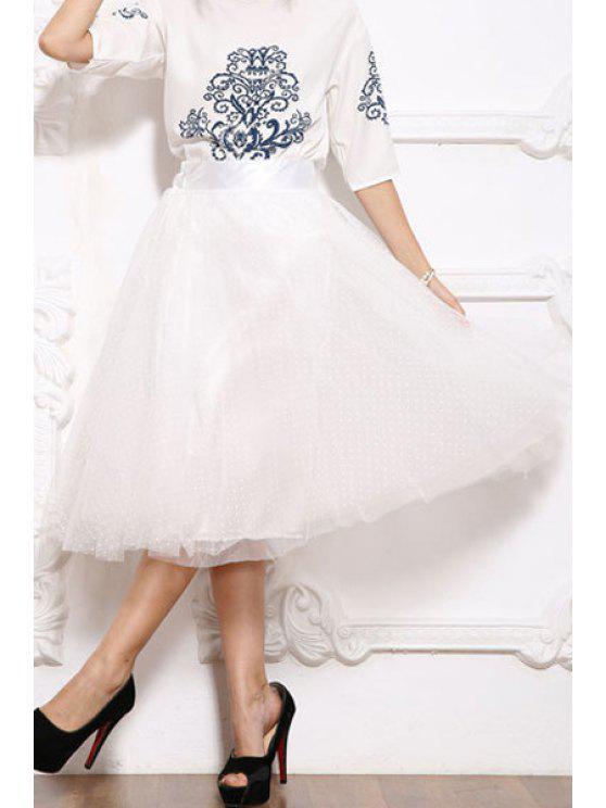 hot Polka Dot Solid Color Voile Skirt - WHITE M