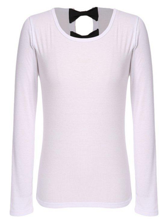 fashion Bowknot Long Sleeve T-Shirt - WHITE S