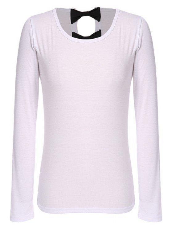 fashion Bowknot Long Sleeve T-Shirt - WHITE S