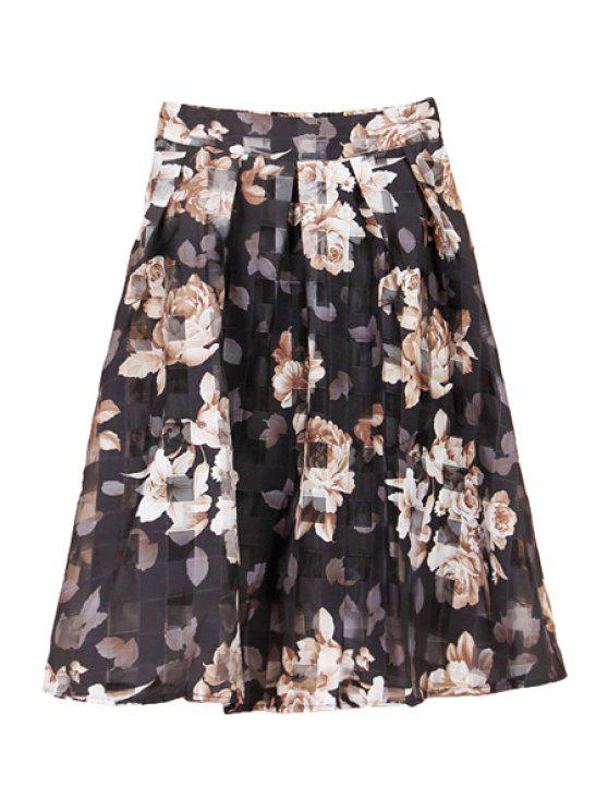 trendy Floral Print Plaid Skirt - BLACK M
