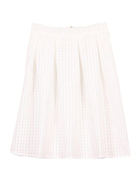 women Solid Color Plaid Ruffle Skirt - WHITE M