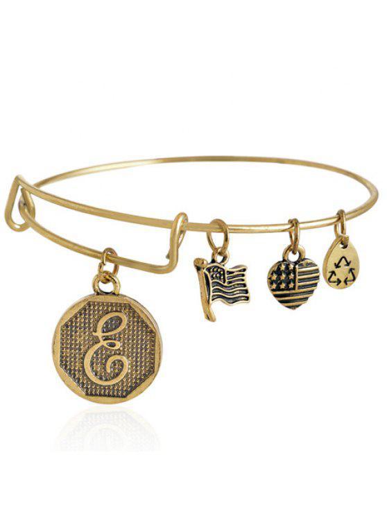 affordable Chic Letter E Pattern Flag Pendant Bracelet For Women - GOLDEN