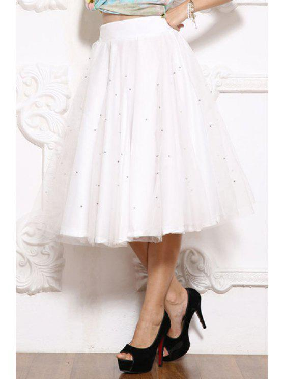 latest Solid Color Bead Embellished Voile Skirt - WHITE M