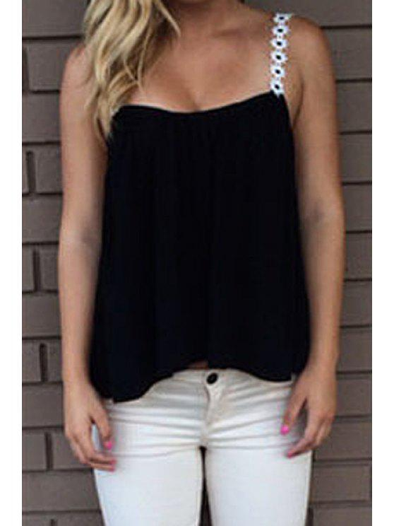 affordable Solid Color Strap Tank Top - BLACK M