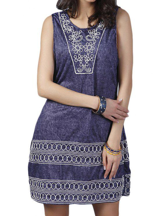 shops Flower Embroidery Scoop Neck Sundress - BLUE ONE SIZE(FIT SIZE XS TO M)