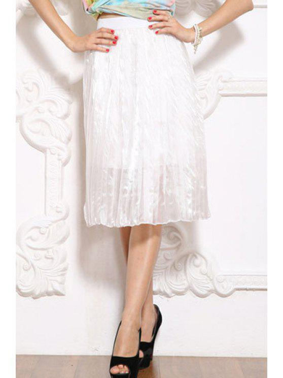 sale Solid Color Elastic Waist Pleated Skirt - WHITE M