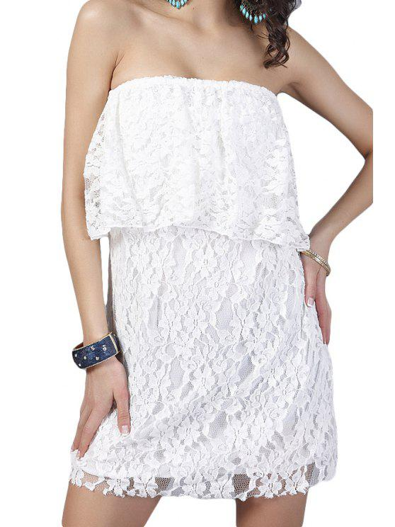 hot Lace White Strapless Dress - WHITE ONE SIZE(FIT SIZE XS TO M)