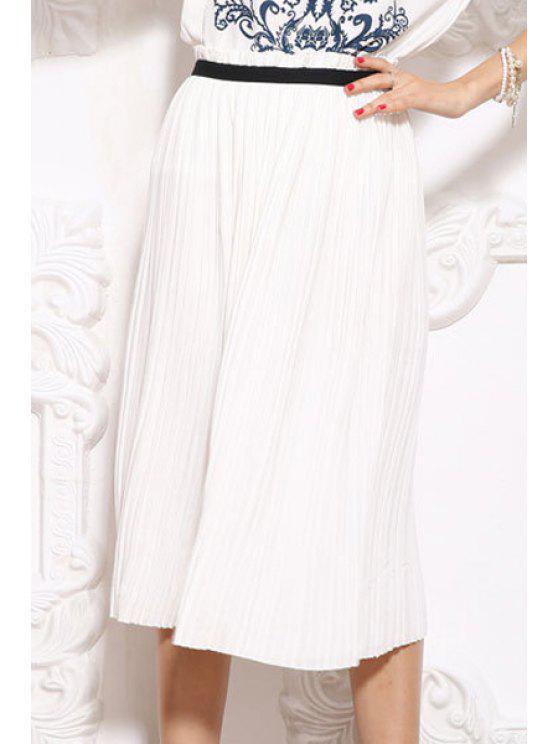 ladies Elastic Waist Pleated Skirt - WHITE M