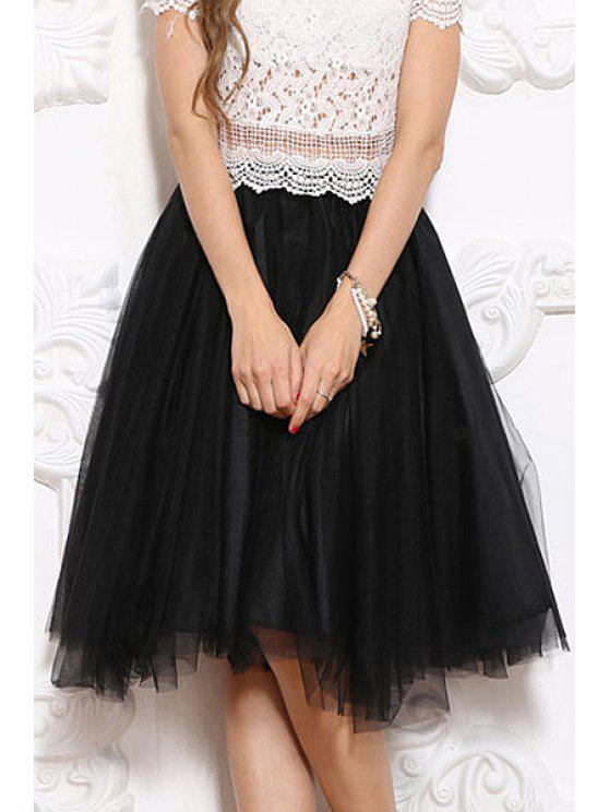 fashion Voile Splicing Multi-Layered Skirt - BLACK M
