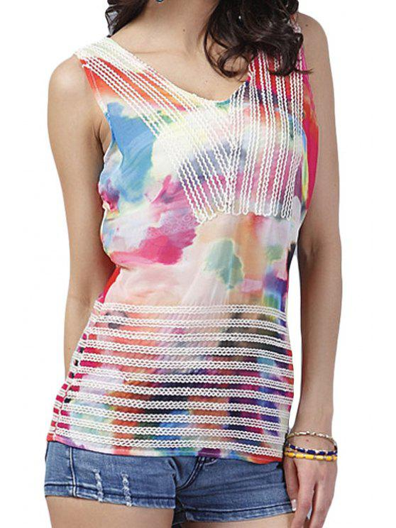 women's Colorful Print V-Neck Tank Top - COLORMIX ONE SIZE(FIT SIZE XS TO M)