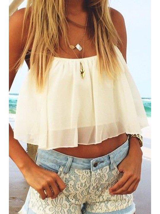 women Tie-Up Solid Color Chiffon Tank Top - WHITE S