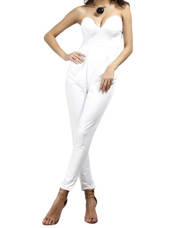 fancy Solid Color Pocket Strapless Jumpsuit - WHITE S