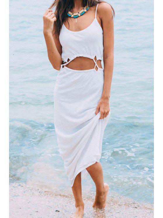 new Spaghetti Strap Openwrok Solid Color Maxi Dress - WHITE S