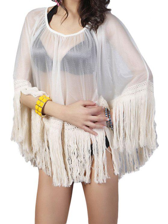 chic See-Through Bat-Wing Sleeve Blouse - WHITE ONE SIZE(FIT SIZE XS TO M)