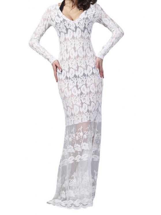 unique White Lace Long Sleeve Maxi Dress - WHITE S