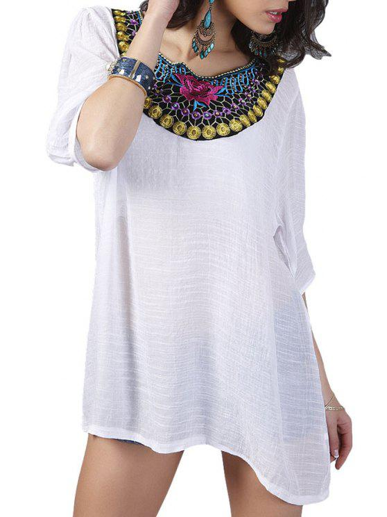unique 3/4 Sleeve Embroidery Blouse - WHITE L