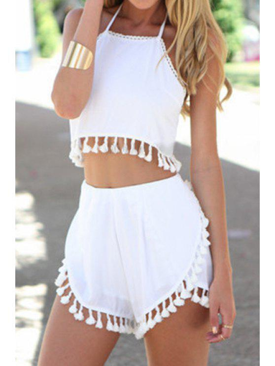 outfits Spaghetti Strap Solid Color Fringe Tank Top + Shorts - WHITE S