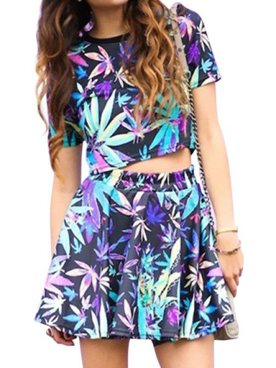 women's Colorful Leaves Print Short Sleeve Crop Top + Skirt - COLORMIX S