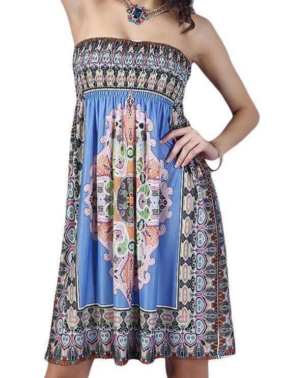 shop Retro Print Strapless Dress - BLUE ONE SIZE(FIT SIZE XS TO M)