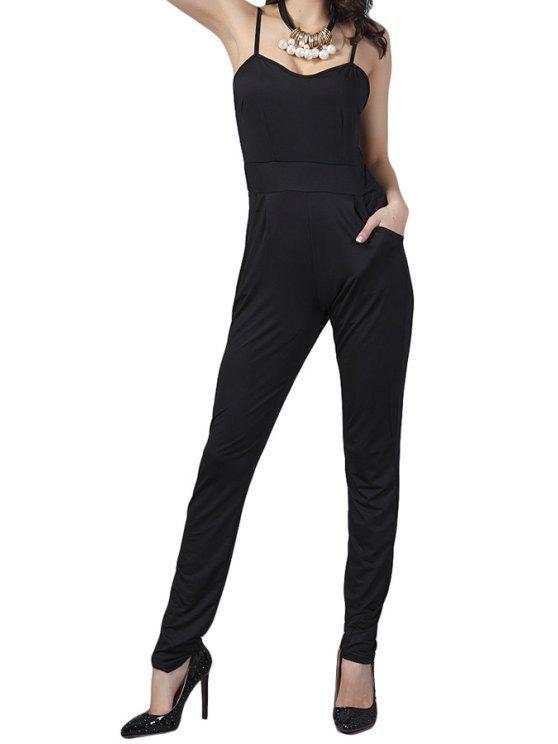 hot Solid Color Spaghetti Strap Jumpsuit - BLACK S