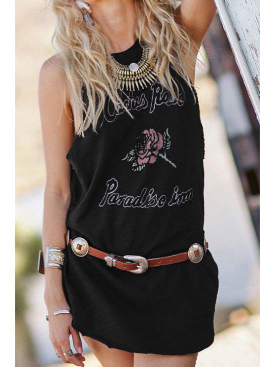 outfits Sleeveless Letter Flower Print T-Shirt - BLACK S